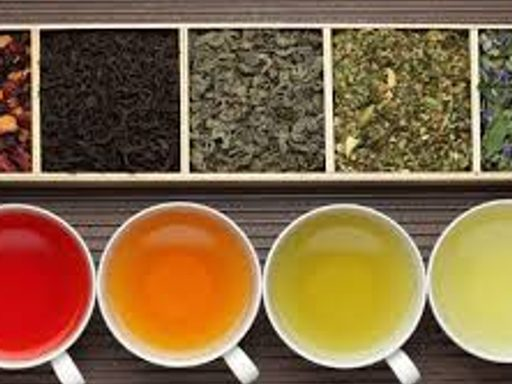 Cups of varying types of tea