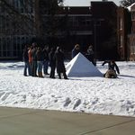 Snow pyramid built winter 2008 as part of sculpture class