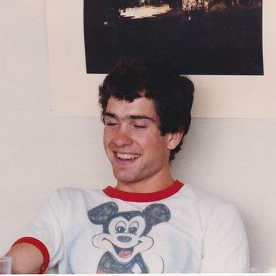 Ian Kraabel wearing a Mickey Mouse T-shirt