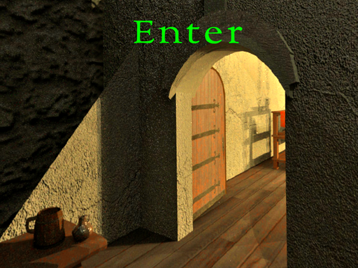 Virtual reality image of a castle entryway with the word