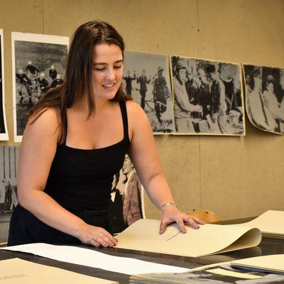 SRA Justine in the printmaking studio