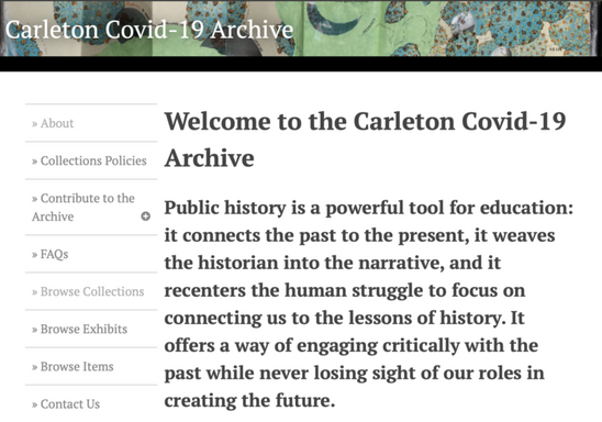 Student-Authored Blog Post on Carleton Covid-19 Archive