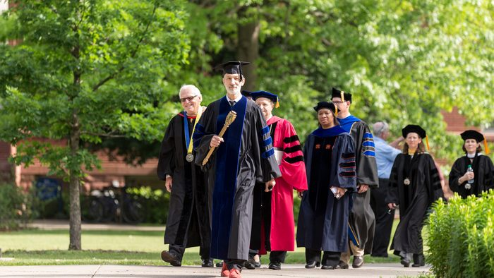 Faculty procession at Commencement 2016