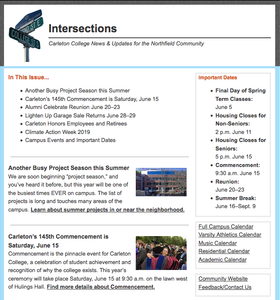 screenshot of the community newsletter