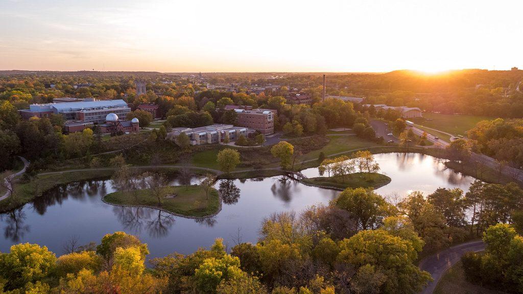 Aerial shot over Lyman Lakes, looking towards campus