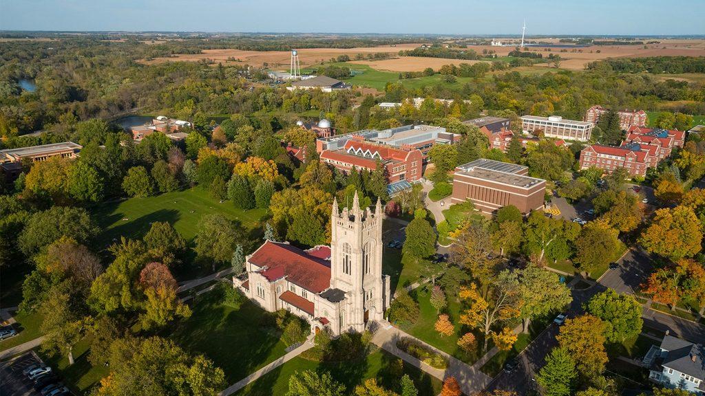 Aerial shot over campus