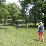 A game of volleyball.