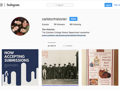 screenshot of the historian instagram page