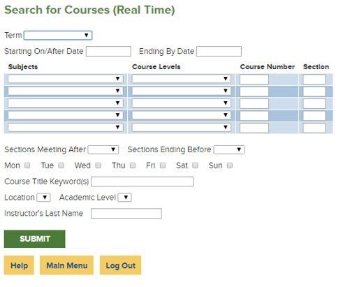 Search for Courses screenshot