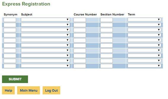 Express Registration screenshot