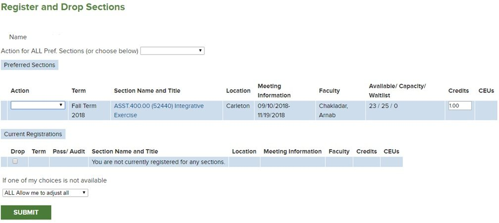 Register and Drop Sections screenshot
