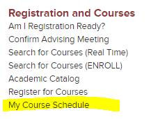 Hub Menu My Course Schedule