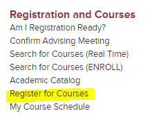 Hub Menu Register For Courses