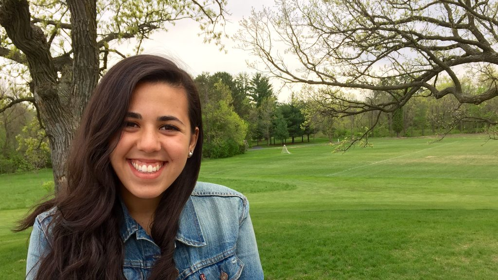 Brittany Brookner hangs out at one of her favorite spots on campus: The Hill of Three Oaks