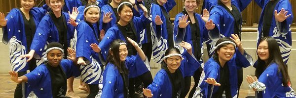 A large group of students in matching costumes strike a martial arts pose