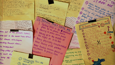 "A stack of hand-written lists of ""10 Things That Scare Me"""