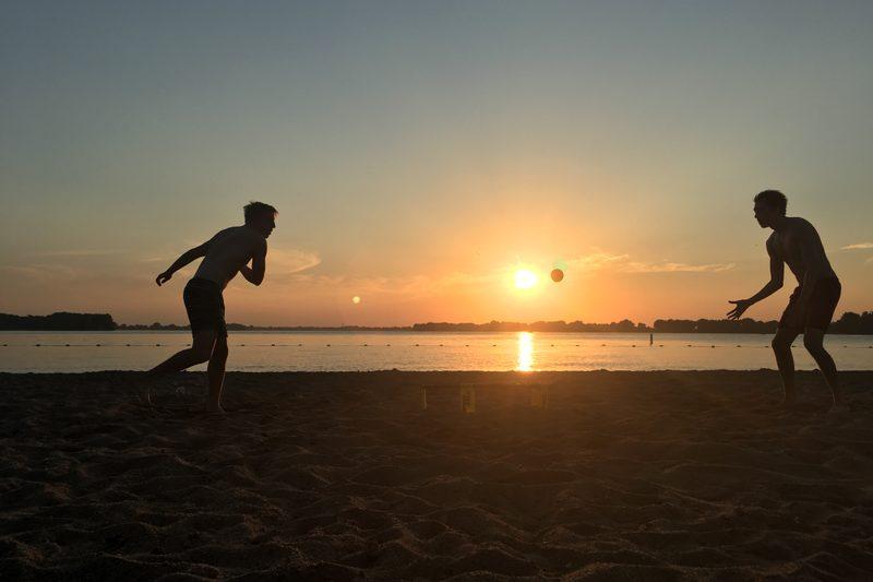 spike ball at the beach