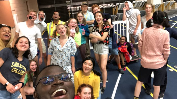 Indoor, selfie of a group of happy young adults
