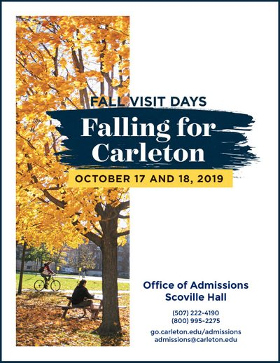 Fall Visit Days: Falling for Carleton, October 17 and 18, 2019