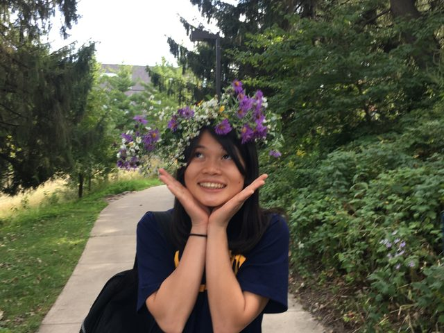 picture of a girl with a flower crown