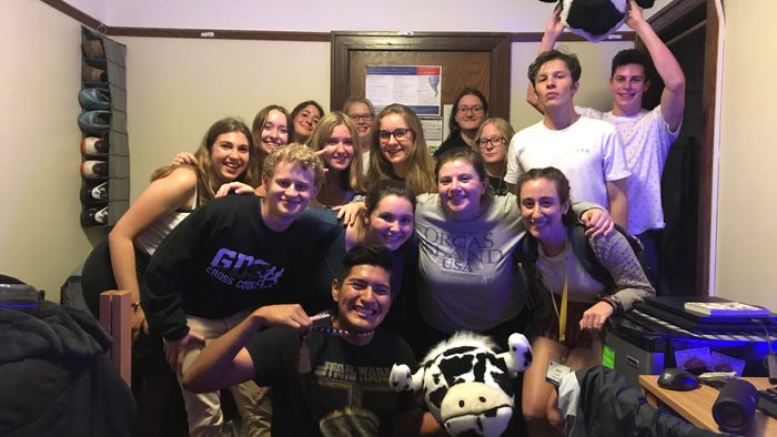 Indoor, group of happy young adults