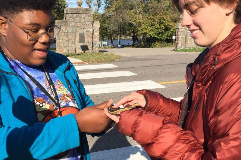 girls handling garter snake