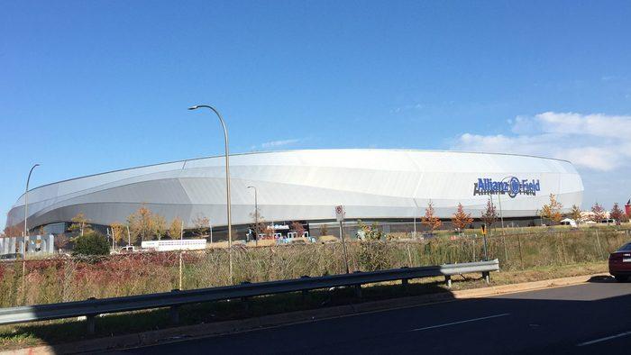 Out doors, far view of a sport stadium