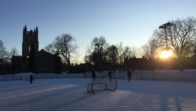 sunset over the ice rinks