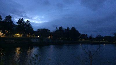 Beautiful night sky of a beautiful lake