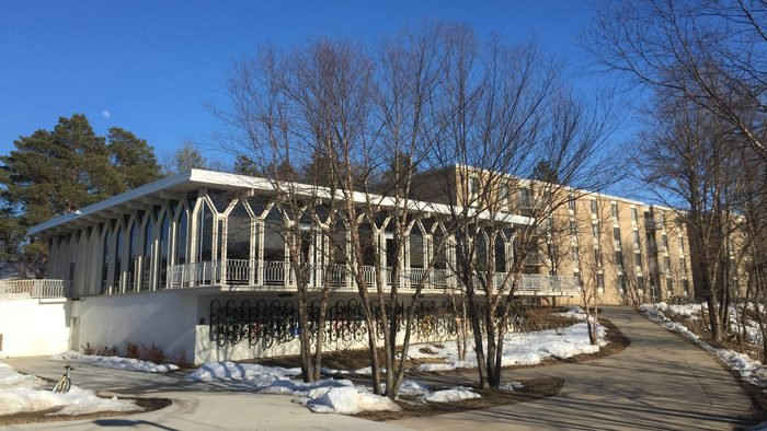 A college residential hall in a sunny day