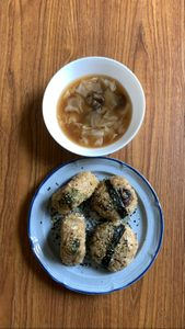 rice balls and miso soup