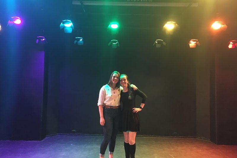 McKenna and a friend standing on Little Nourse stage.