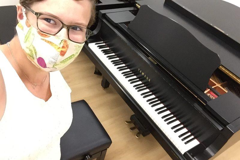 Greta practicing piano