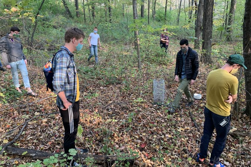 Professor Dan Maxbauer leads his Carbon and Climate students through a lab activity in the Arboretum.