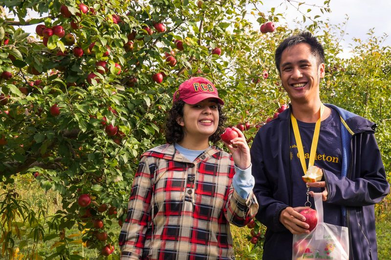 My friends and I apple picking