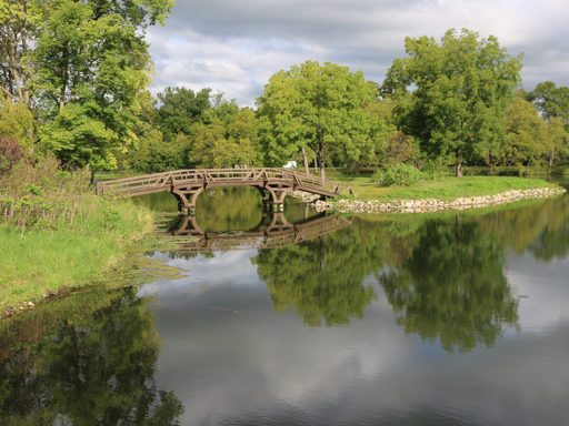 Bridge an island on Carleton's Lyman Lakes