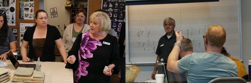 Side by side photos of APSI Consultants Alison Youlikis and Ron Rodman teaching