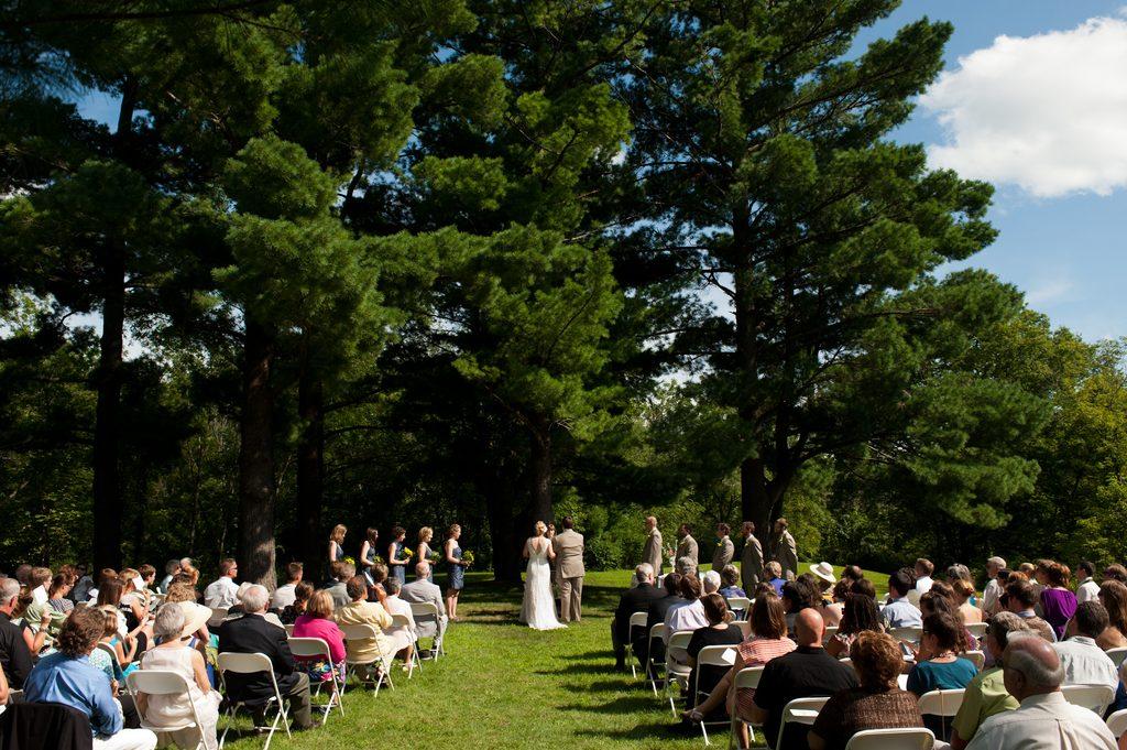 Wedding Ceremony at Monument Hill in the Upper Arboretum