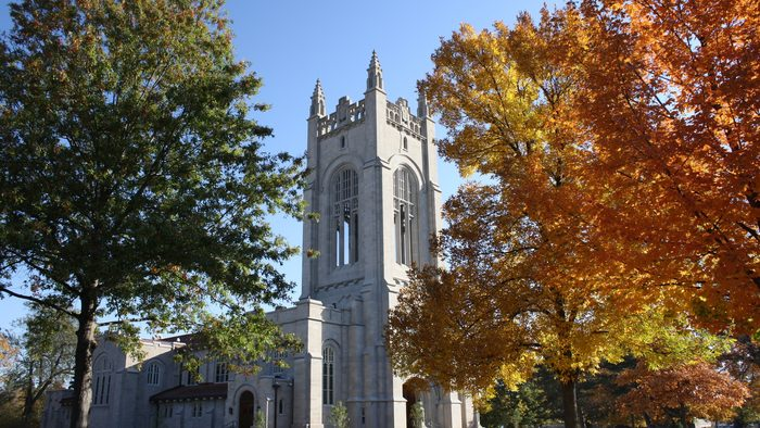 Skinner Chapel on a sunny fall day
