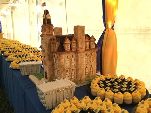 Cake replica of Willis Hall along with 2000 sesquicentennial cupcakes