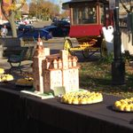 Cake replica of Willis Hall and 500 sesquicentennial cupcakes at Bridge Square October 13