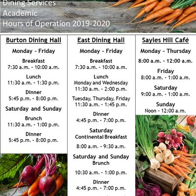 Standard Academic Hours of Operation 2019-2020