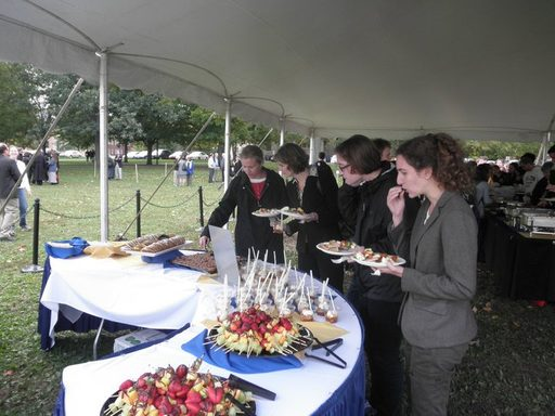 The dessert table for the post-convocation reception on the Bald Spot during the Poskanzer Inaugural weekend.