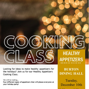 poster advertising a cooking class on Dec. 10, 2019 from 11am–1pm