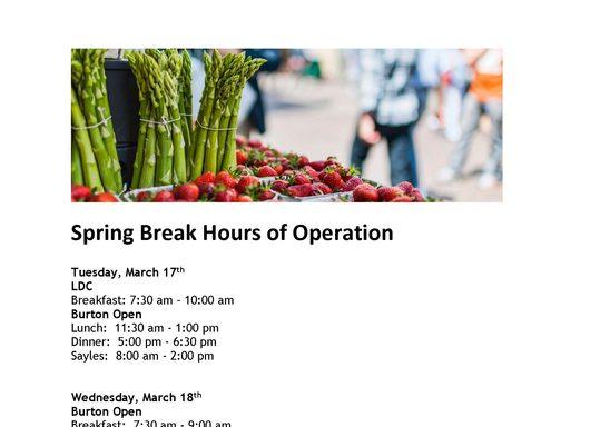 Spring Break 2020 Hours of Operation