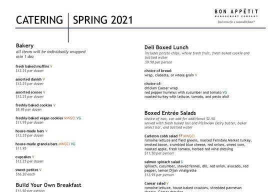 Spring 2021 Catering Menu