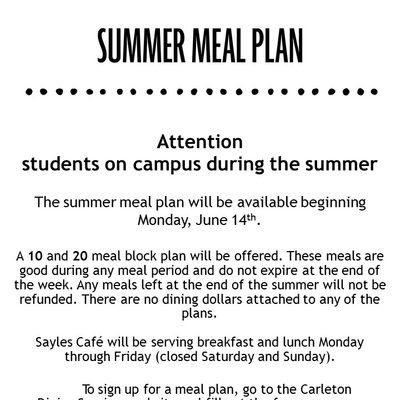 Summer Meal Plan 2021