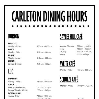 Carleton Dining Hours 2021-2022