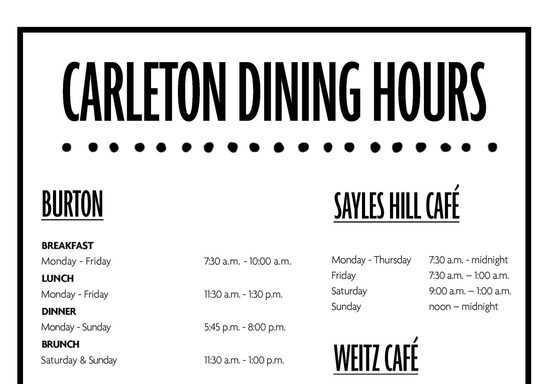Carleton Dining Facilities Standard Hours of Operation | Fall 2021