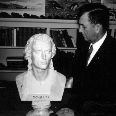 President Larry Gould with Schiller in the 1950's
